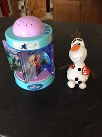 Frozen night light and Olaf toy