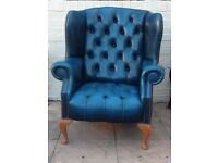 Blue leather chesterfield Queen Anne Wingback Armchair in Great Condition