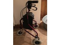 Three Wheeled Folding Walker Mobility Aid with Strong Shopping Pouch (Excellent Condition)