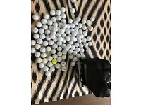 115 golf balls, tees and carry bag