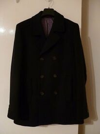 Ted Baker Mens Pea Coat Navy Blue Double Breasted Brand New this season Size 4 Large