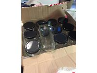 24 glass jars with lids