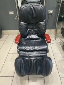 Multi feature electronic massage chair in black leather