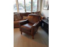 Genuine leather armchair - dark/ tan