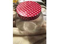 Polka dot red biscuit jar