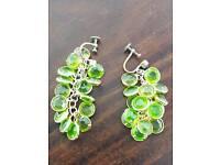 Antique art deco czech gold & green glass dangle earrings with screw back