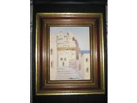 Painting of a Mediterranean Town in a Wooden Frame