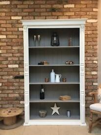 Large rustic painted bookcase display unit cabinet shelves