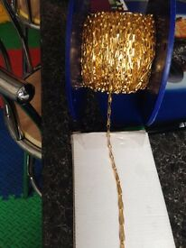 BRASS SAFETY CHAIN/PICTURE HANGING CHAIN REEL OF OR BUY BY METRE