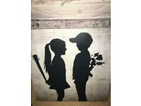 2 x banksy canvas