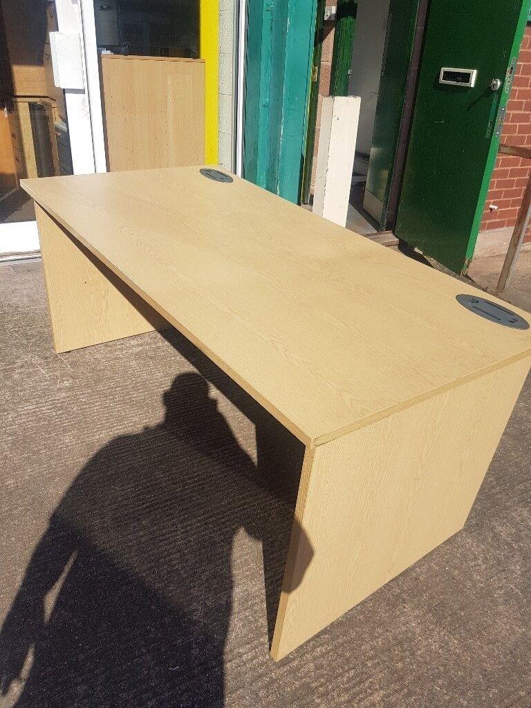 Lovely Oak effect straight office desks with Wood effect legs 1600mm