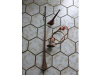 VINTAGE ANTIQUE COPPER & BRASS HUNTING HORN BUGLE TRUMPET ORNAMENT COLLECTABLES