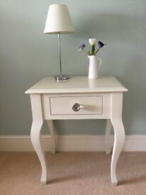 Laura Ashley Rosalind Cream Bed Side Table Night Stand with Drawer Used