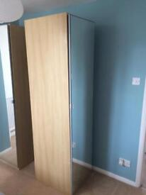 IKEA mirrored slim wardrobe. Beech effect. Good condition