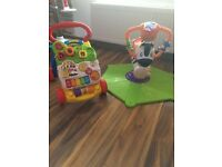 Baby Vtech walker and Fisher price zebra bouncer