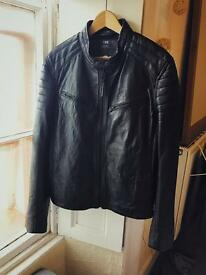 New Superdry 'Elite Slim Racer' Leather Jacket in Black (Men's, Large)