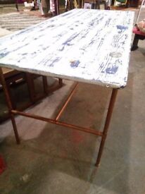 Bespoke Copper Leg and Plank Top Desk, Table, Console, Hallway Table, Wooden Pine Top