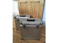 "Pair of aluminium 12"" vinyl record DJ flight cases"
