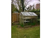 Glass Greenhouse ( 8ft x 6ft) with sliding door and window opening