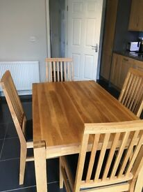 Solid wood dining room table + 4 chairs