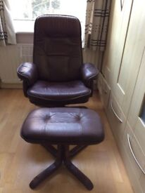 Real Leather Recliner Chair and stool excellent condition.