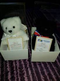 Merrythought bears with tags and boxes