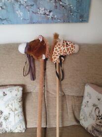 Hobby horse and giraffe.