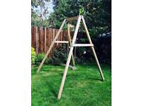 Children's wooden garden swing set