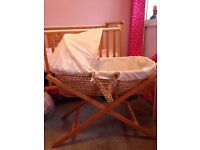 Baby Neutral Moses Basket & Stand - Excellent Condition with New Mattress