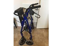 4 Wheel Folding Lightweight Disability Walker Walking Aid with a Basket & Seat