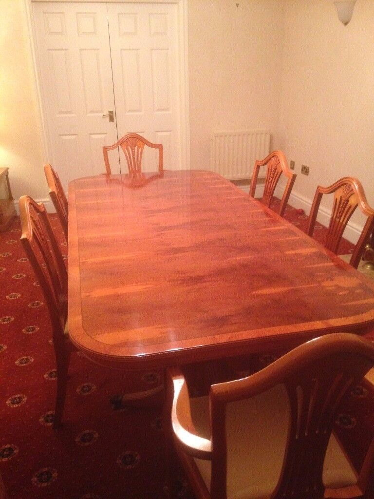 Yew Dining Table 2 Carver Chairs 4 Sideboad Available As Separate Sale