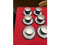 Denby blue Coffee set 6 cups and saucers. Never used in perfect condition