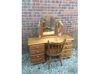 Solid pine dressing table with triple mirror and chair