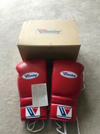 Winning 16oz red training ms lace up gloves