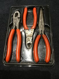 Snap on x3 orange pliers set rare