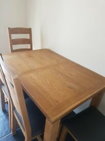 Solid Oak Extendable Dining Table and Four Chair Set