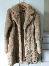 Lipsy cream faux fur coat size 8