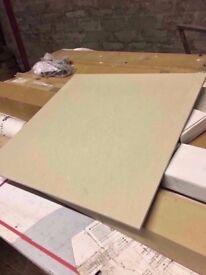 6 boxes of porcelain floor tiles in cream