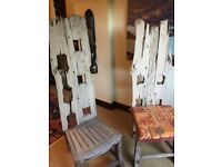 UNIQUE, HANDMADE, DRIFTWOOD STYLE HIGH BACK CHAIRS