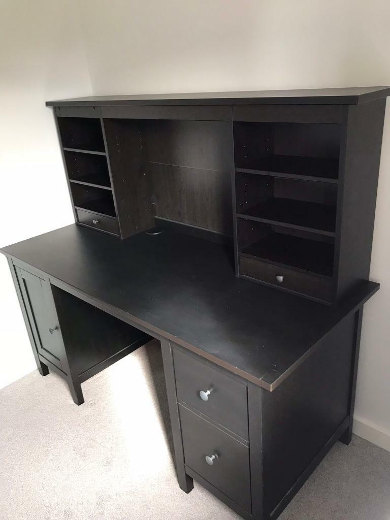 Ikea Hemnes Desk With Add On Unit In Black Brown In