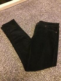 Jack wills black velvet jeans w30 l32
