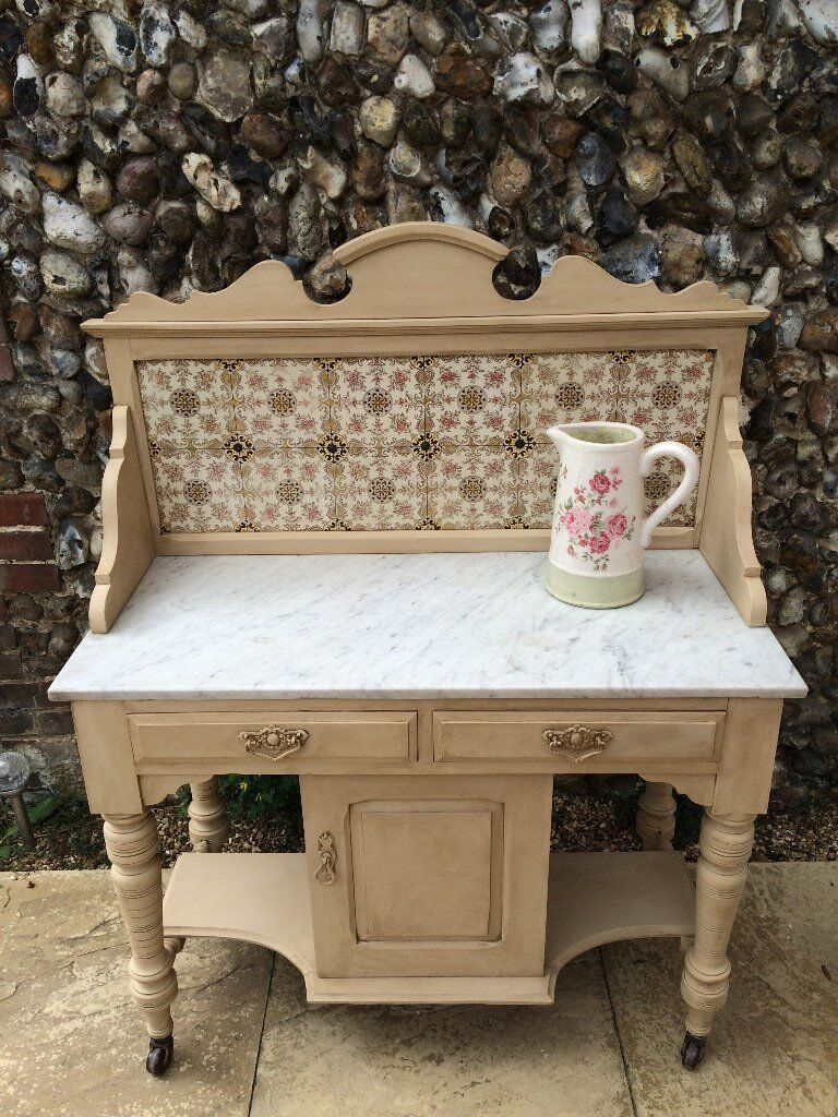 Hand Painted Victorian Wash Standin Norwich, NorfolkGumtree - Hand Painted Victorian wash stand, stunning piece of furniture, house move forces sale. The tiles are all in perfect condition, viewings welcome. Please note this item is heavy due to the marble top, the top does lift off from the base, so should fit...