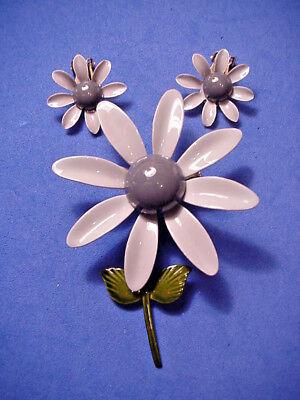 Vintage Flower Pin Brooch Matching Clip On Earrings Two Tone Gray Enamel 1960's