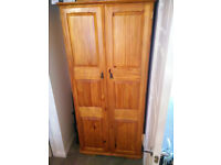 Pine Wardrobe with Shelf and Clothes Rail