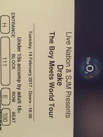 2 * Drake tickets (Block 111) on 14th Feb