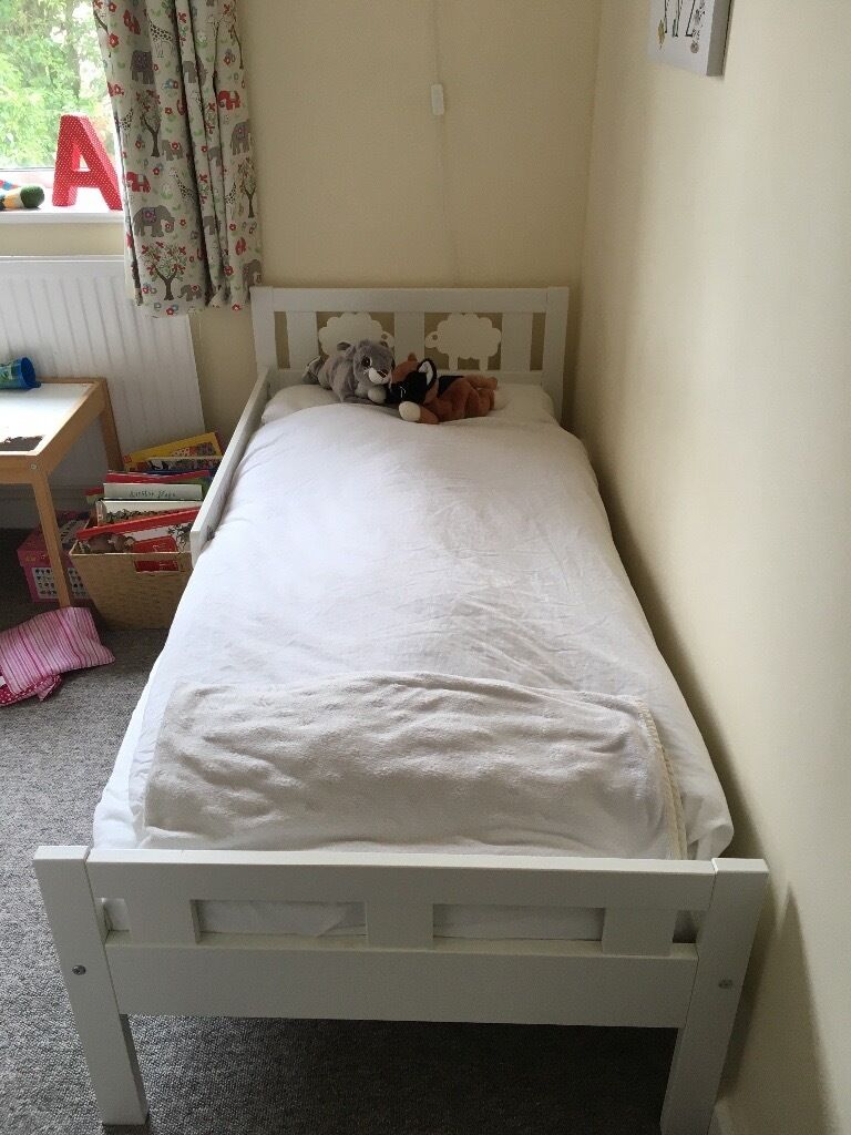 IKEA White Toddler Bed With Mattress