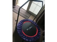 Pleny Indoor Mini Fitness Trampoline with Handle, 2-in-1 Lean Aerobic Exercise Rebounder - 38 inch