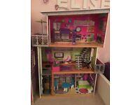 Elc stunning wooden dolls mansion for barbie