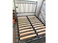 Metal framed double bed, free mattress