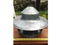 Metal chicken feeder with separate bottom and lid. Approx. 2.5kg capacity